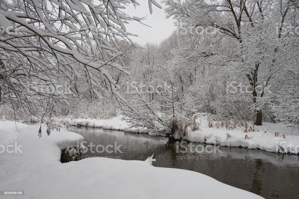 Beautiful winter scene on Yauza river stock photo
