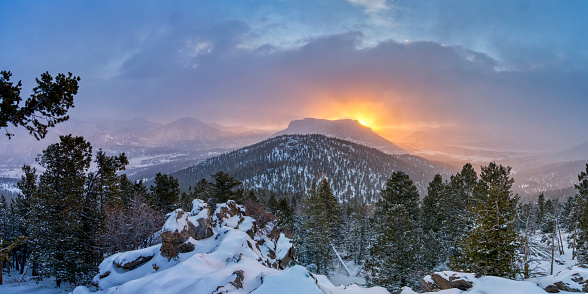 Beautiful winter scenery in Rocky Mountain National Park outside of Estes Park, Colorado.