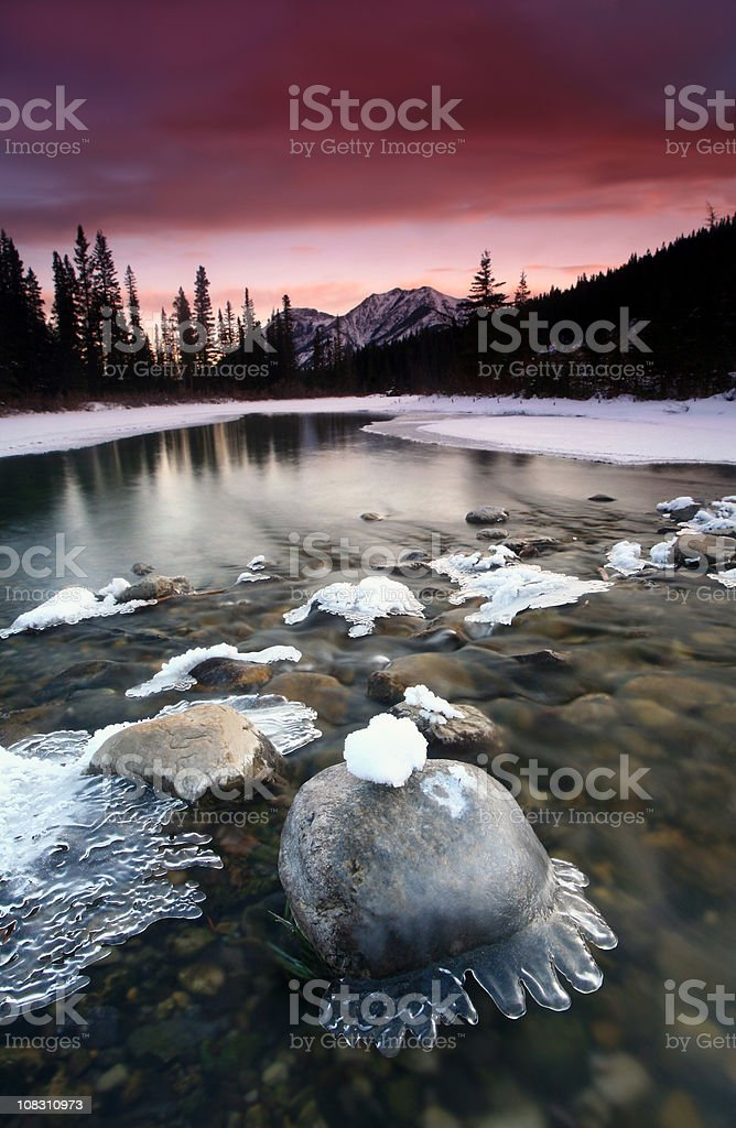 Beautiful Winter Scenic in Canadian Rockies royalty-free stock photo