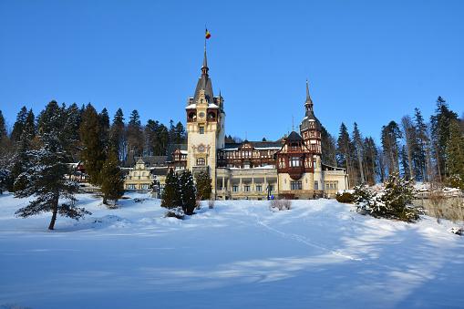 Beautiful winter sightseeing at Sinaia in Romania