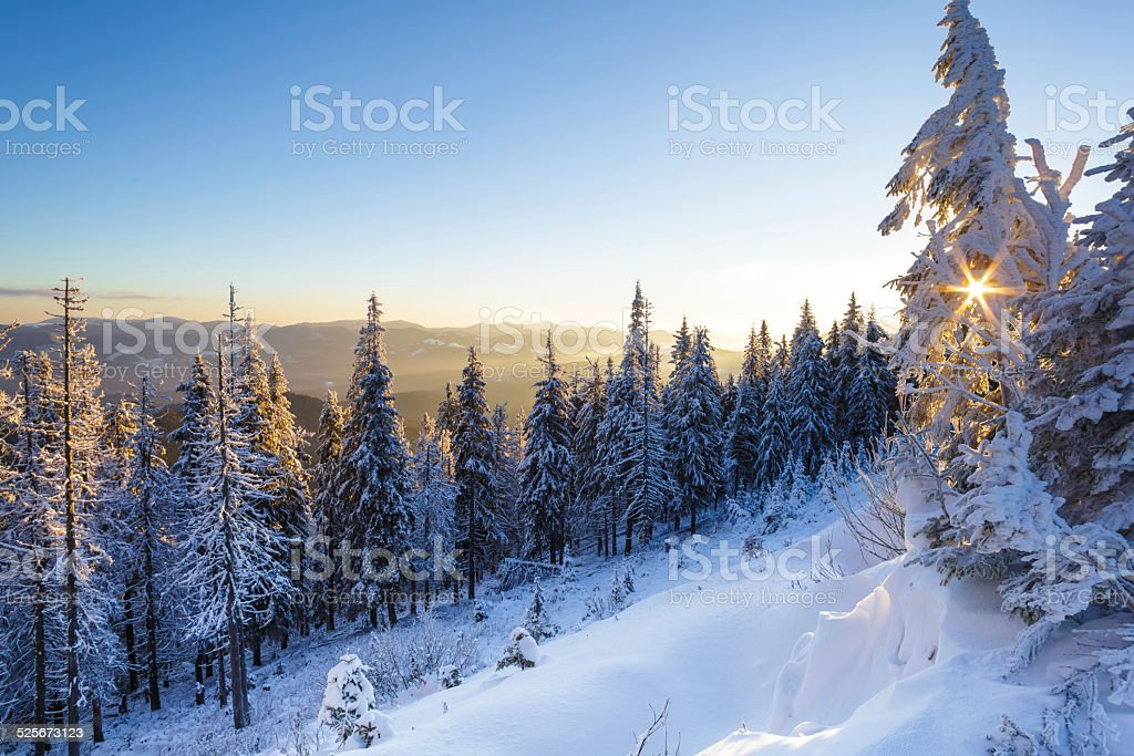 Beautiful winter sunrise in the mountains stock photo