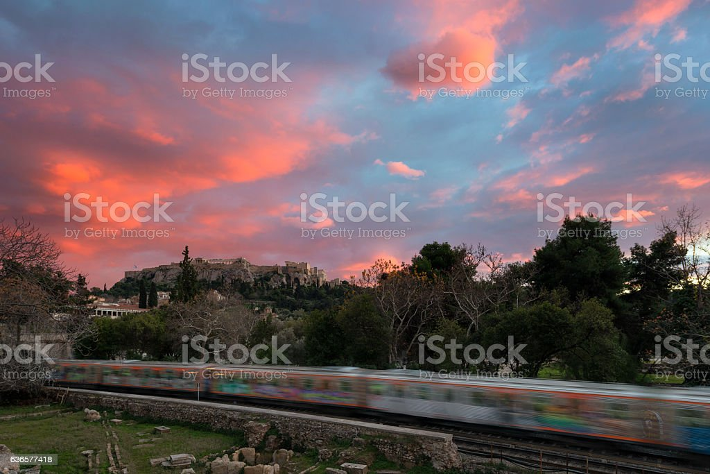 Beautiful winter sunset at acropolis hill stock photo