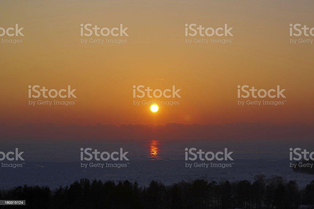 Beautiful winter sunset stock photo
