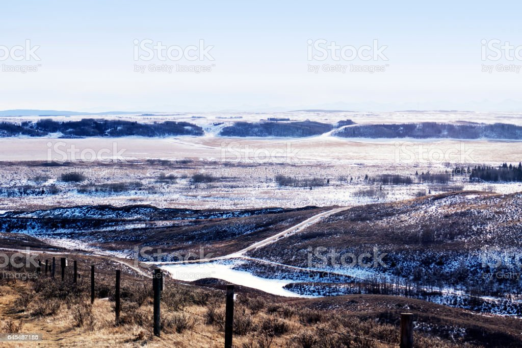 Beautiful wintry landscape in the  Glenbow Ranch Provincial Park,a provincial park located in the Bow Valley , between the city of Calgary and the town of Cochrane in Alberta,Canada stock photo