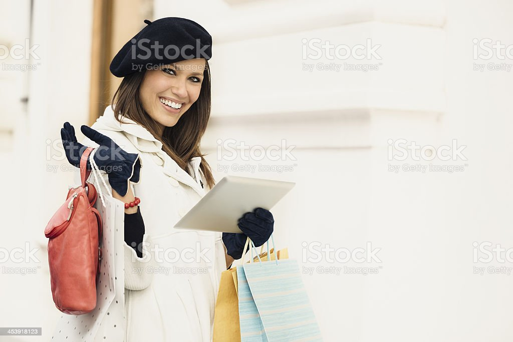 Beautiful woman after shopping royalty-free stock photo