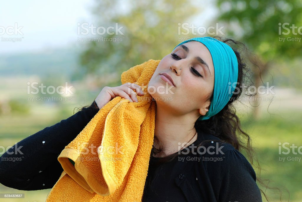 Beautiful woman after training stock photo