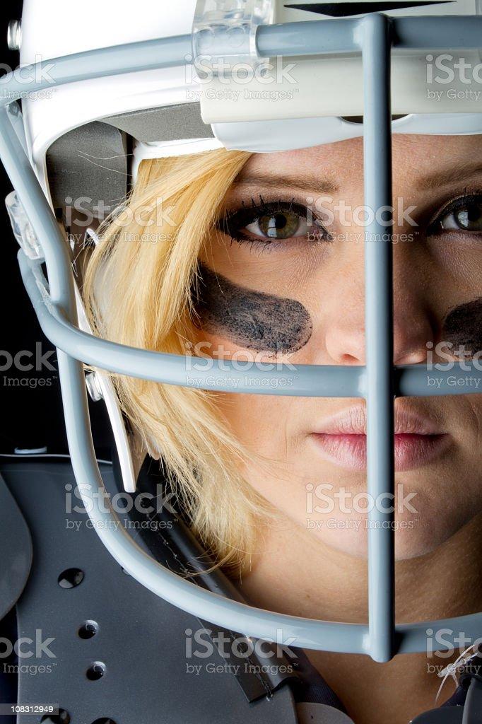 Beautiful Woman American Football Player royalty-free stock photo