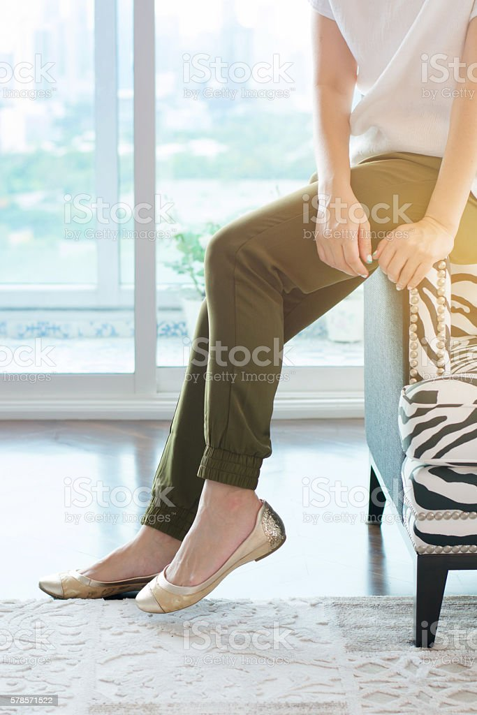 beautiful woman and black casual shoes stock photo