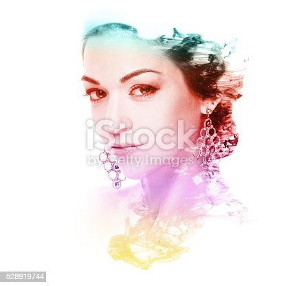 181894581 istock photo beautiful woman and cloud of color ink. Double exposure 528919744