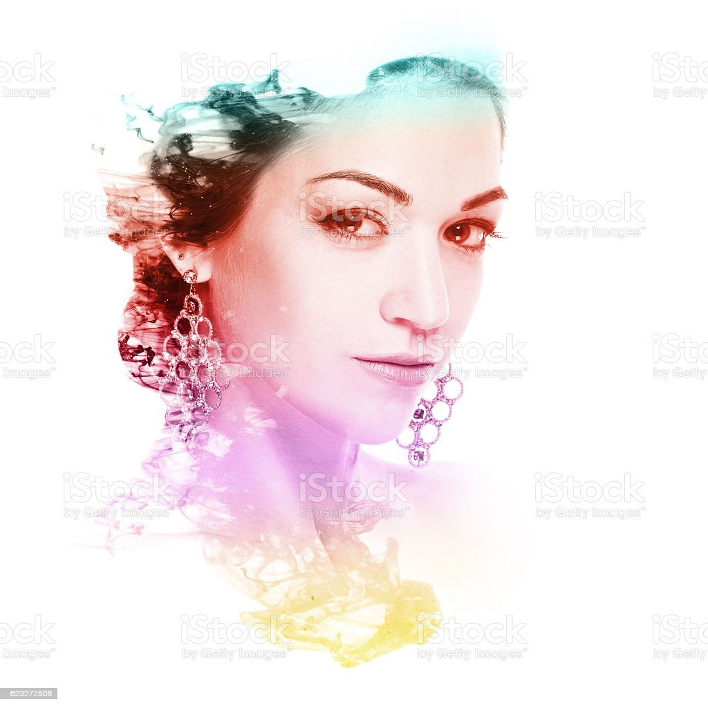 beautiful woman and cloud of color ink – Foto