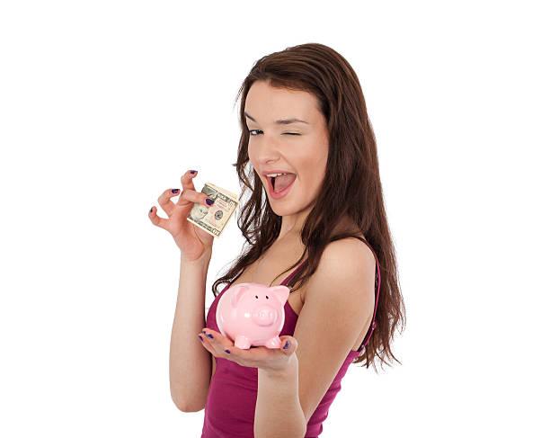 Schöne Frau und Geld Schwein – Foto