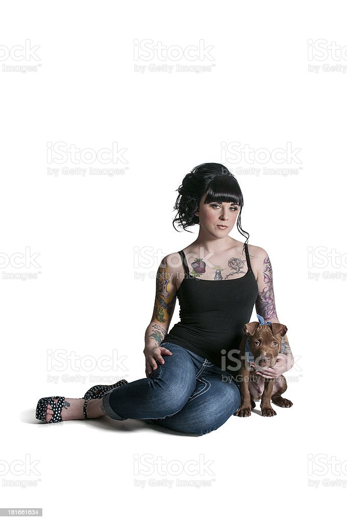 Beautiful Woman and Pit Bull Puppy royalty-free stock photo