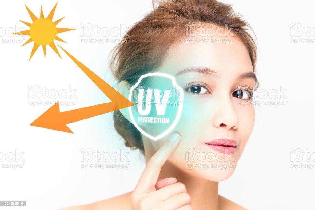 beautiful woman and sunscreen, UV protection. stock photo