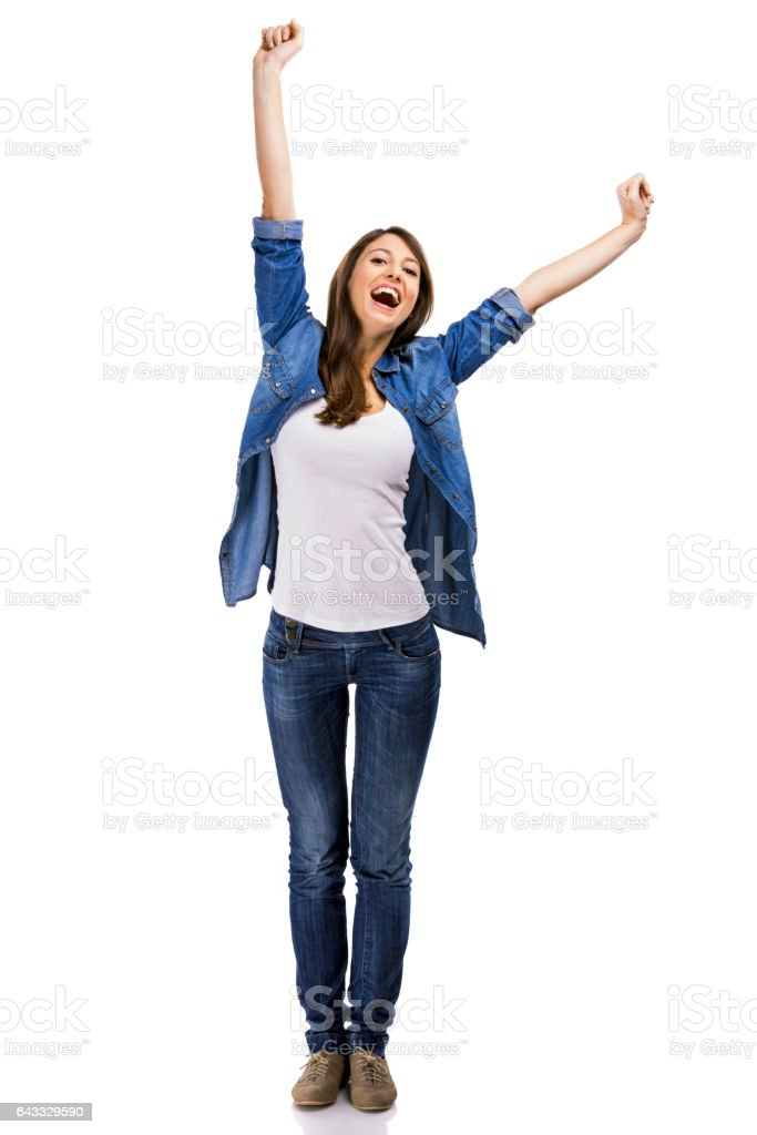 Beautiful woman and verry happy woman with arms on the air, isolated over white background – Foto