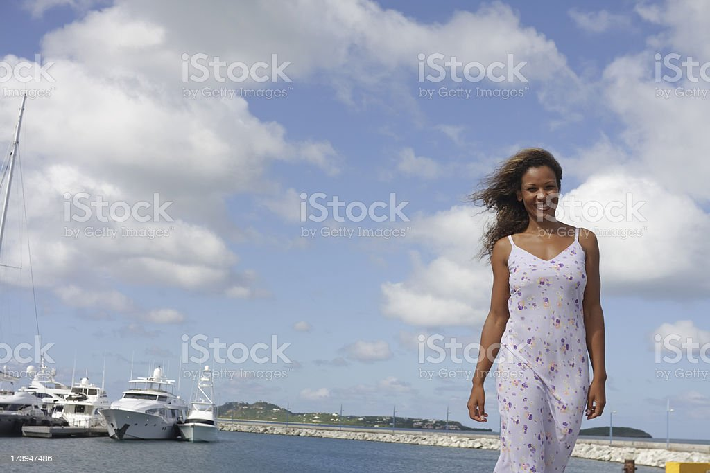 beautiful woman and yachts royalty-free stock photo