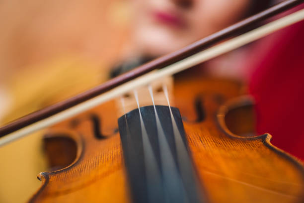 Beautiful woman artist playing the violin on the stage. Beautiful woman artist playing the violin on the stage. Close up. string instrument stock pictures, royalty-free photos & images