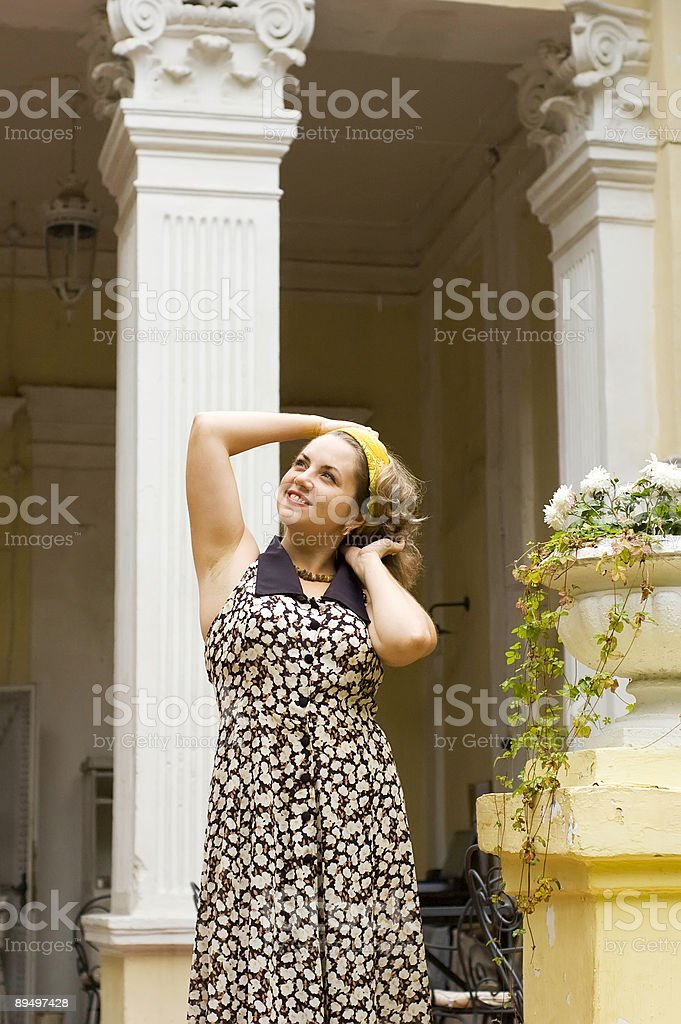 beautiful woman at home terrace royalty free stockfoto
