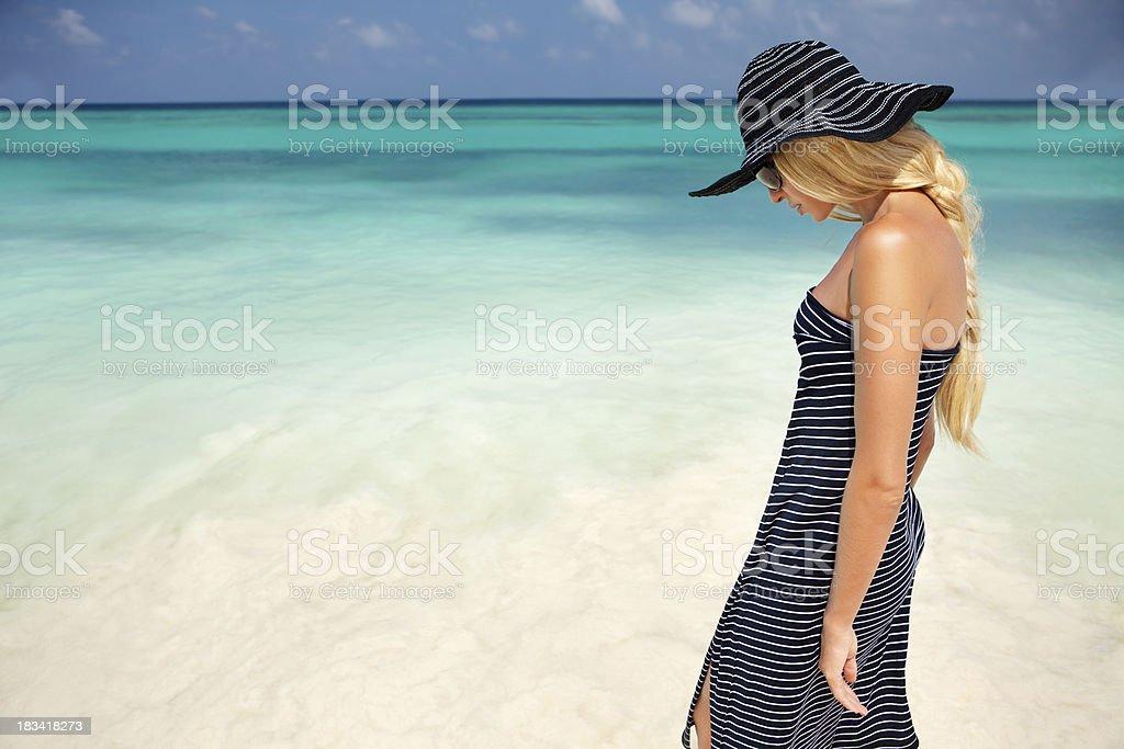 Beautiful woman at Sea royalty-free stock photo