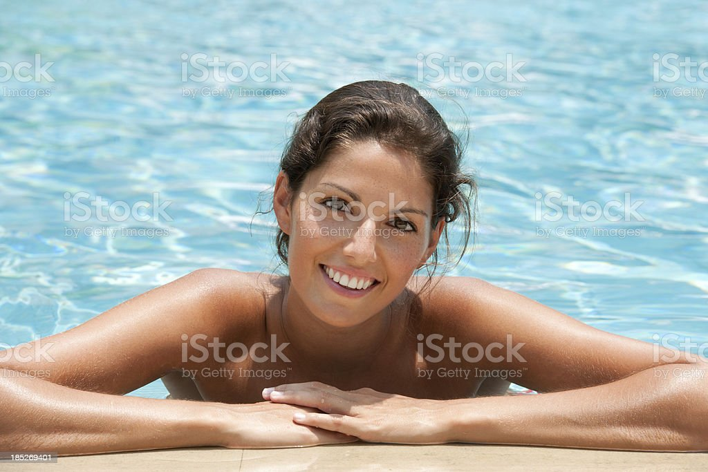 Beautiful Woman at the Pool, Perfect Candid Smile (XXXL) royalty-free stock photo