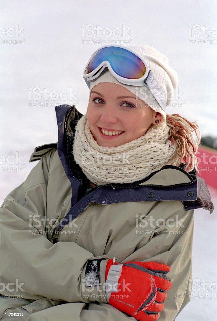 beautiful woman at winter vacation royalty-free stock photo