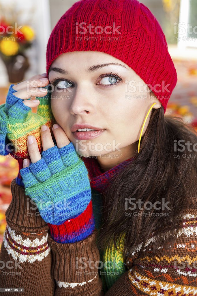 Beautiful woman autumn portrait royalty-free stock photo