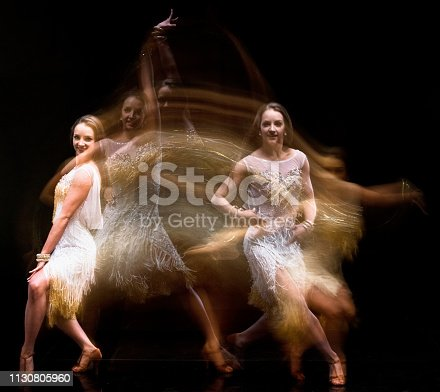 Amazing motion blur photo of woman's ballroom dancing movement