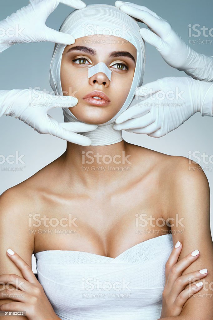 Beautiful Woman before Plastic Surgery Operation - foto de stock
