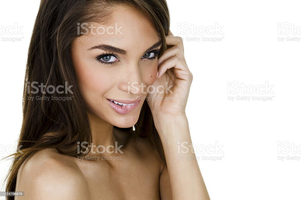 Beautiful woman biting her lip stock photo