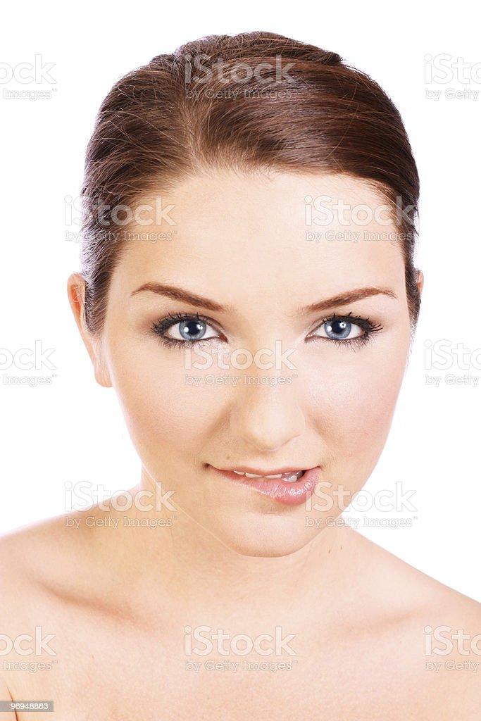 Beautiful woman biting her lip royalty-free stock photo