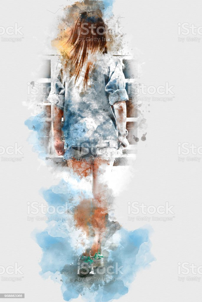 Beautiful Woman Body On Watercolor Painting Background Stock Photo  More Pictures Of -7783