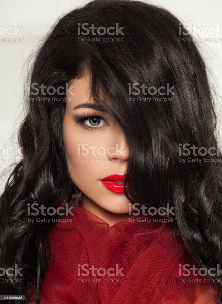 Beautiful Woman Brunette Hair Dark Curly Hairstyle Red Lips Makeup