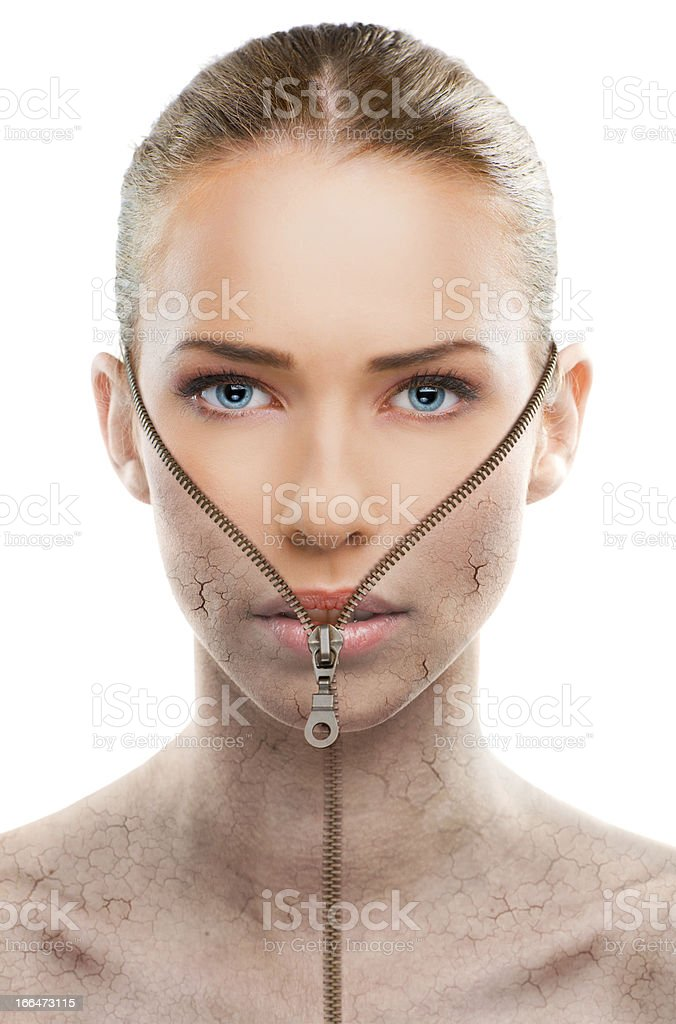 Beautiful woman changing skin, beauty concept stock photo