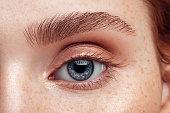 Beautiful woman. Close-up. Soft make-up.