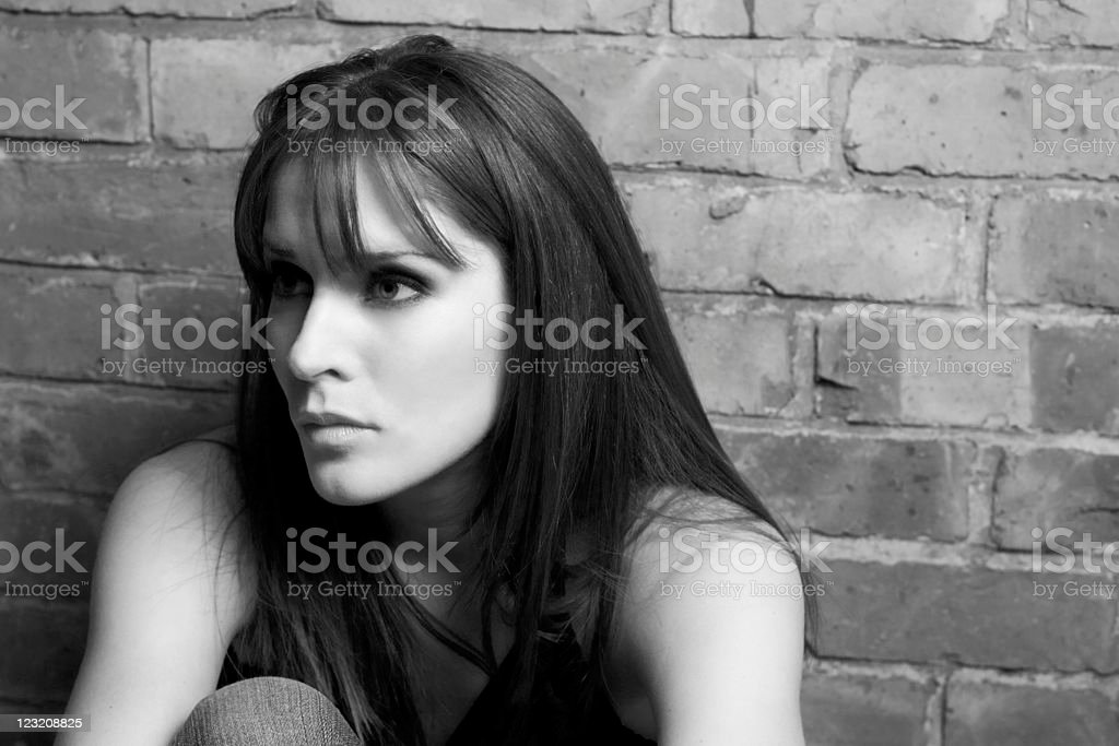 Beautiful woman deep in thought (Black and White) royalty-free stock photo