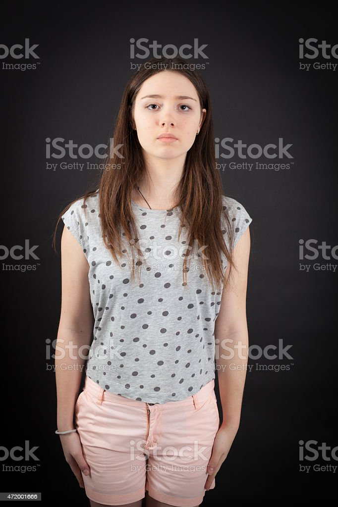 beautiful woman doing different expressions in different sets of clothes stock photo