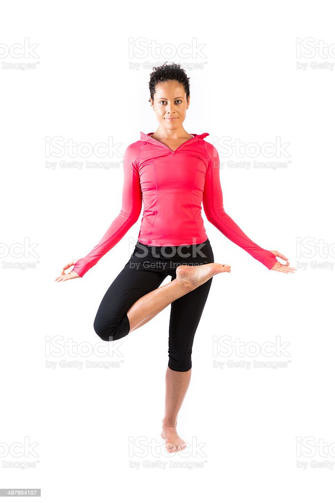 Beautiful woman doing yoga stock photo
