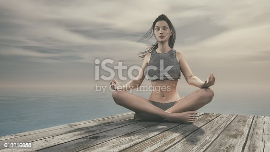 450754061 istock photo Beautiful woman doing yoga 613216658