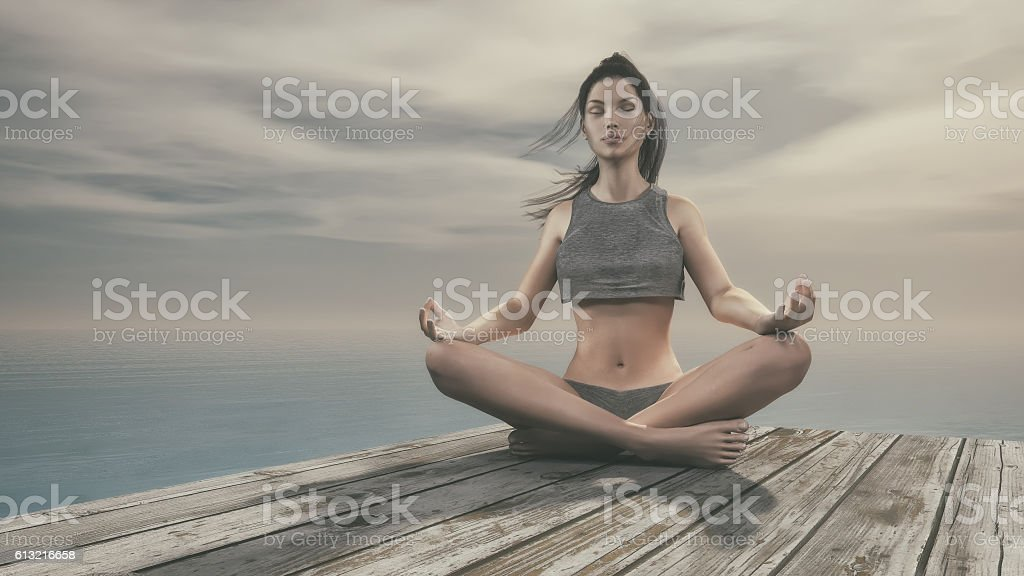 Belle femme faisant yoga  - Photo
