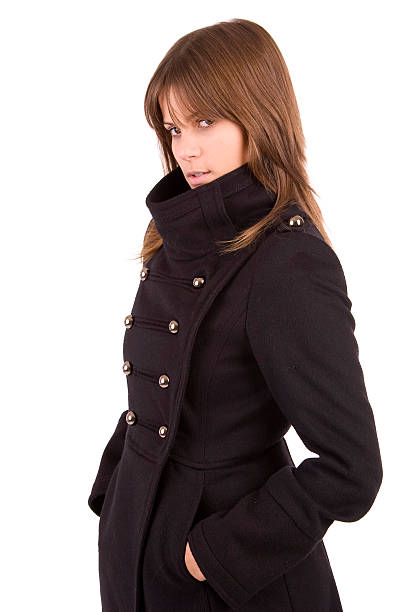 beautiful woman dressed for winter stock photo