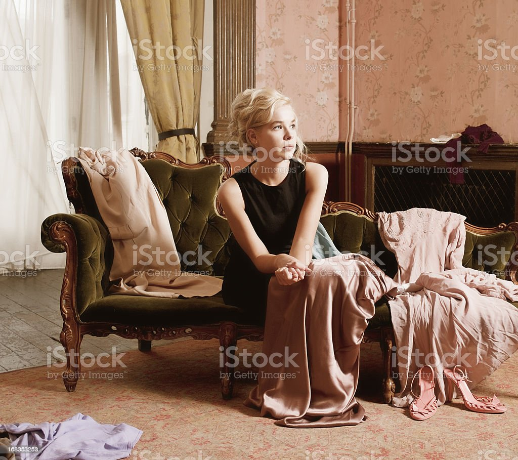 Beautiful Woman, Dressing Room, Clothing Scattered stock photo