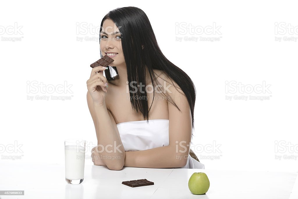 beautiful woman drink yogurt or milk stock photo