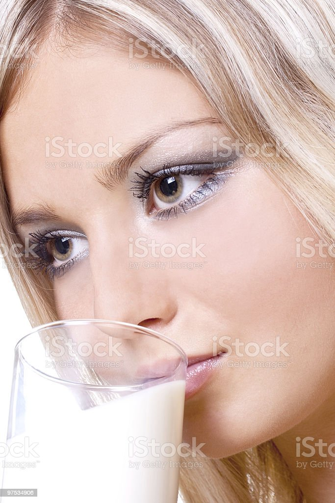beautiful woman drinking milk royalty-free stock photo