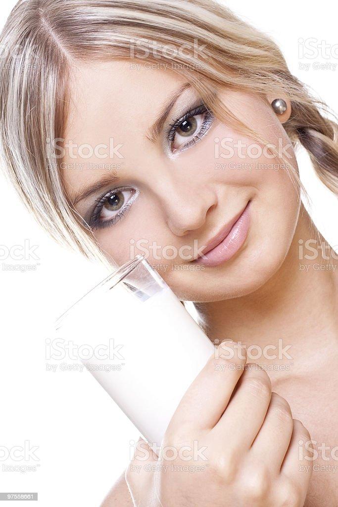 beautiful woman drinking milk royalty-free stock photo