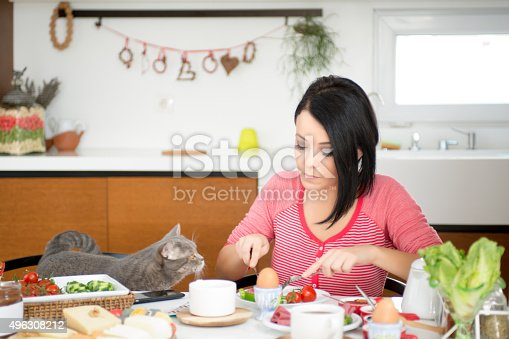 istock beautiful woman eating breakfast with cats 496308212
