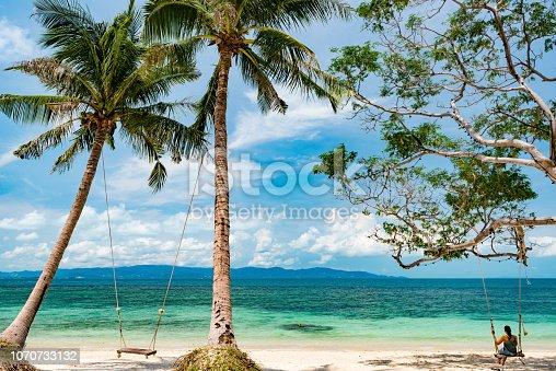 Beautiful woman enjoying her vacations on Koh Phangan, Thailand