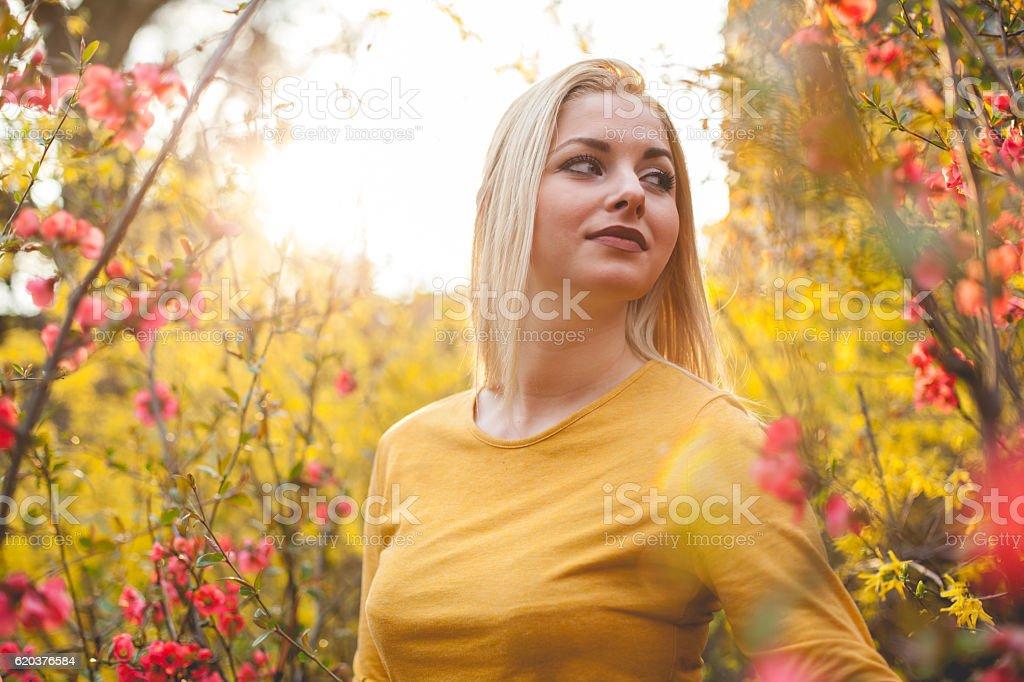 Beautiful woman Enjoying spring zbiór zdjęć royalty-free