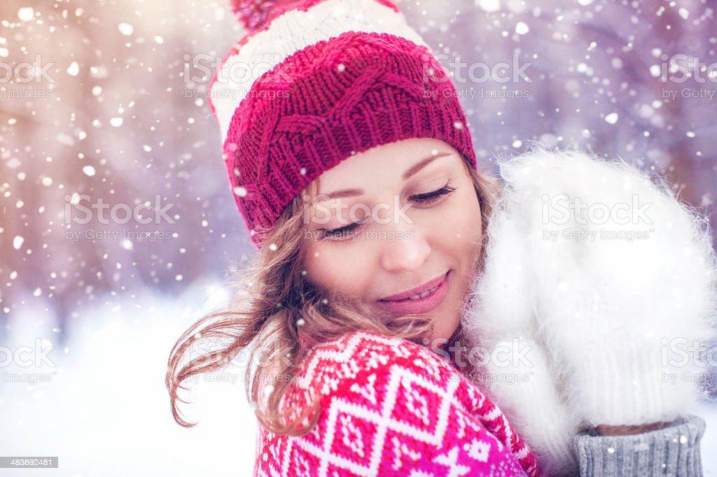 Beautiful woman enjoying winter stock photo