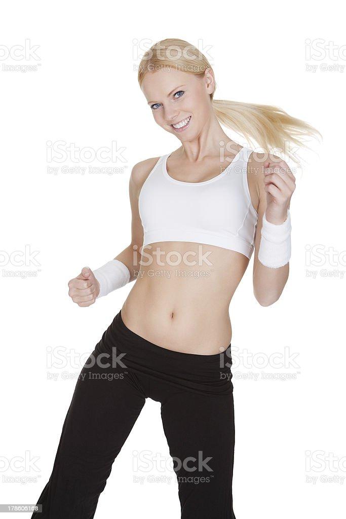 Beautiful woman enjoying Zumba Fitness royalty-free stock photo