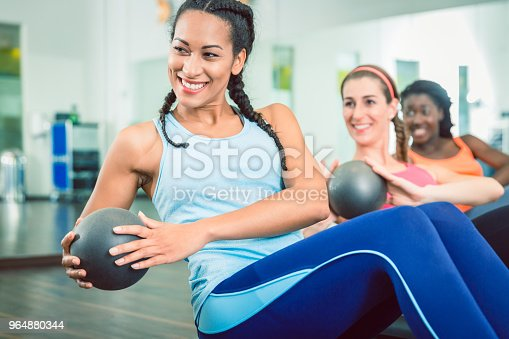 Beautiful Woman Exercising Russian Twist With Med Ball For Strong Abs At The Gym Stock Photo & More Pictures of Abdomen