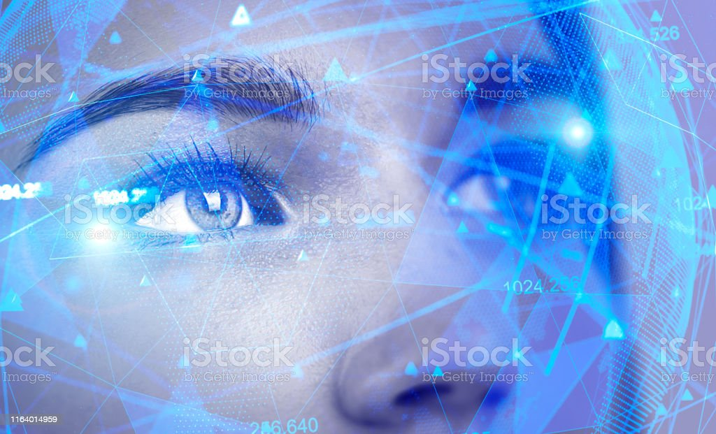 Beautiful woman face, AI concept Face of beautiful woman with double exposure of network interface. Concept of artificial intelligence and machine learning. Toned image Accessibility Stock Photo